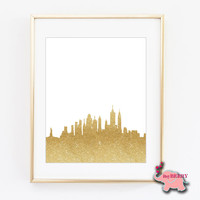 New York City Gold Silhouette, Cityscape, NYC Skyline, Wall Art, Unique Gift, Christmas Gift