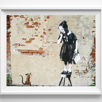 Banksy Print, Girl Scared of Rat, Street Graffiti Art, Urban Artist, Modern Home Decor, Stencil Art, Street Art, Fathers Day Gift