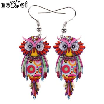 Bonsny Owl Earrings Dangle Long Drop Earrings Big Acrylic Pattern New Fashion Jewelry For Women Charm Animal Accessories
