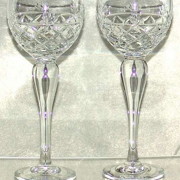 "Vintage Pair of Royal Brierley Bruce Pattern Crystal Cut Glass 7 5/8"" Tall Hock Wines Signed (ref: SA101)"