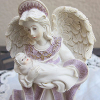 Sarah's Angels Mother's Day figurine,  Collectible Angel holding baby, gift for new mom
