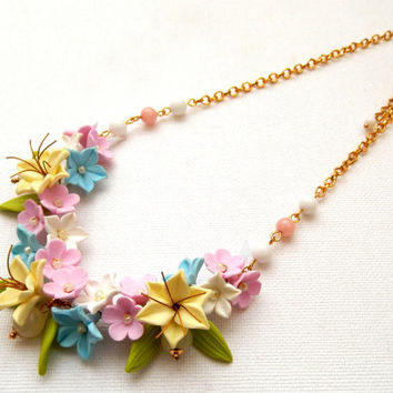 Pastel jewelry - Flower necklace - Spring jewelry - Jade jewelry - Handmade polymer jewelry