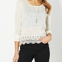 Ivory Crochet Knit Top