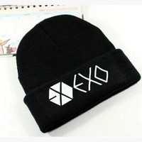 Kpop winter exo planet printing Skullies & Beanies men gorros