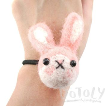 Needle Felted Wool Bunny Rabbit Hair Tie in Pink | DOTOLY