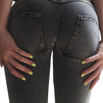 Luscious Curvy Enhancer Zipper Black Brazilian Skinny Jeans