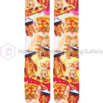 Bacon Pizza Space Cat Knee-High Socks