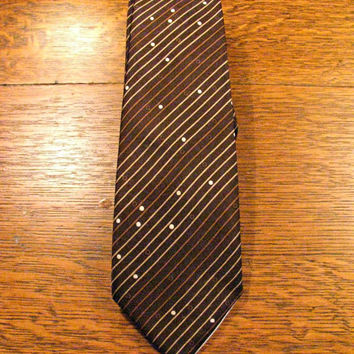 Evelin Silk Necktie, Risque Nude, Peekaboo, Pin Up, Brown Skinny Tie, Stripes and Dots, Made in Italy, Acetate Lining