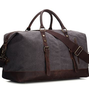 BLUESEBE HANDMADE WAXED CANVAS LEATHER TRIM TRAVEL DUFFLE BAG 12031