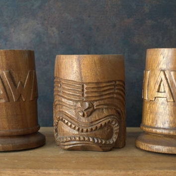 Hawaiian Tiki Mugs, Vintage Souvenir Cups, Wooden Beer Mug