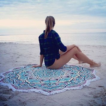 Floral Printed Round Polyester Beach Blanket