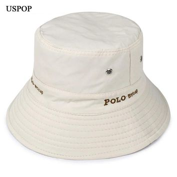 2018 New Men Cotton Bucket Hats Letter embroidery Flat top Wide brim Sun Hats casual outdoor fisher man hats