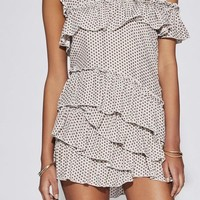 SIR | Emelie Ruffle Mini Dress - Ivory Print