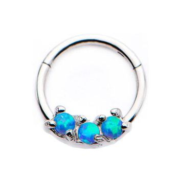 Glistening Fire Opal Sparkle Seamless Clicker Ring
