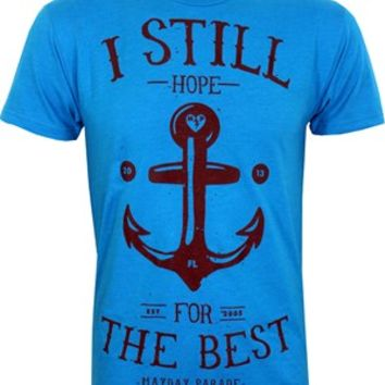 Mayday Parade Anchor Men's Blue T-Shirt - Buy Online at Grindstore.com