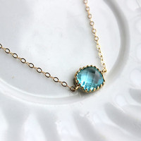 Dainty Aquamarine Blue Necklace Gold Filled Chain - Charm Necklace Aqua Bridesmaid Necklace - Aquamarine Wedding Jewelry - Gift under 25