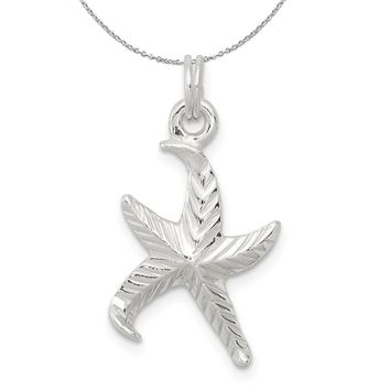 Sterling Silver Satin and Textured Starfish Charm or Necklace