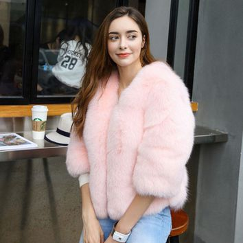 Winter jacket Women Fur Coats  5XL 6XL Plus Size Black Faux Fur Coat  Pink Fur Coat White Rabbit Fur Coat