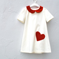 The Sofia Dress - Girls Dress with Red Velvet Heart and Peter Pan Collar - Valentines Day Dress (Made to Order Sizes 2 3 4 5 6 T)