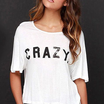White Crazy Printed Cross Back T-Shirt