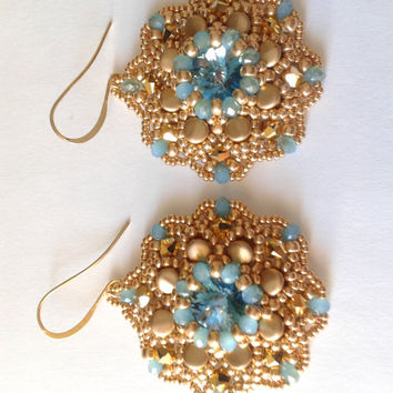 beadwoven earrings handmade with crystal aurum Swarovski bicone of 4 mm and aquamarine swarovski crystal