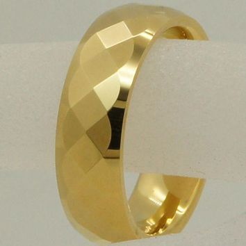 CREYCI7 6mm geometrical facet champagne gold plating hi-tech scratch proof wedding tungsten ring 1pc