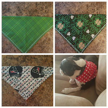 SALE! 3 FOR 18 ON Puppy Scarf - Puppy Bandana - Cute on Dogs - Snap on/Snap off - Dog Scarf - Bandana - Walking Dead - St Patty's Day