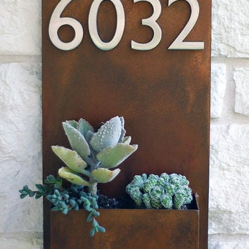 "Succulent Hanging Planter & Metal Address Plaque - 20"" x 12"" Vertical Wall Planter with (4) Satin Nickel Address Numbers (Free Shipping)"