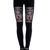 """HARNESS LEGGINGS"" Black gothic leggings, leather straps, nugoth trousers"