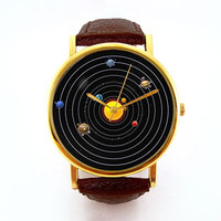 Solar System Watch, Unisex Watch, Ladies Watch, Men's Watch, Space, Planets, Astronomy, Analog, Gift Idea, Gift for Men