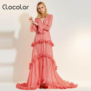 Women Maxi dress Sweet Red Lapel Asymmetrical High Wasted Party Shopping Floor Length Spring Summer Maxi Dress