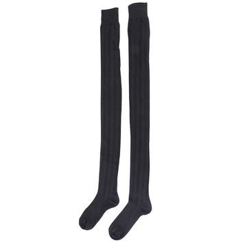 Women Girls Long Over The Knee Loose Slouch Baggy Socks Cable Knit Thigh Highs