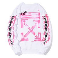 Off White Autumn And Winter New Fashion Letter Cross Print Women Men Long Sleeve Top Sweater White