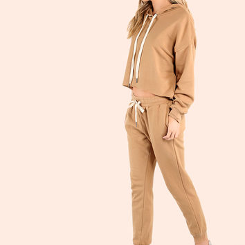 Cropped Batwing Sweatpants Matching Set CAMEL | MakeMeChic.COM