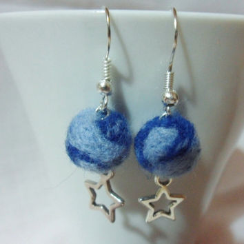 Needle felted earrings - felt ball earrings with stars - blue felt balls - needle felted ball earring