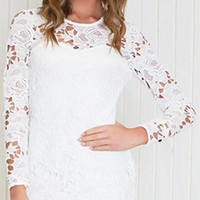 White Long Sleeve Sheer Lace Scoop Neck Scallop Hem Bodycon Mini Dress