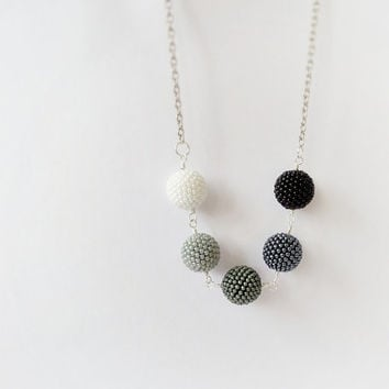 Shades of grey beadwork necklace, black white long necklace, beaded ball necklace, beadweaving necklace, modern fashion jewelry