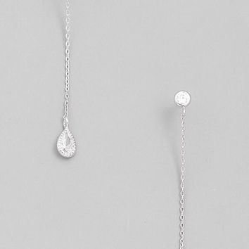 Dainty Silver Chain Thread Earrings
