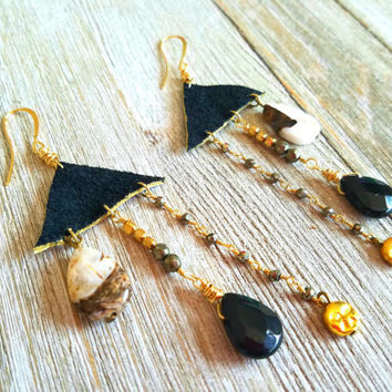Leather Dangle Earrings-Geometric Triangle Earrings-Black-Gold Boho Earrings-Gemstone Chandelier Earrings-Bohemian Gypsy Earrings-boho gift