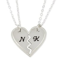 Name Necklace Best Friend BFF Breakable Heart Pendant - Two Heart Pendants Two Chains