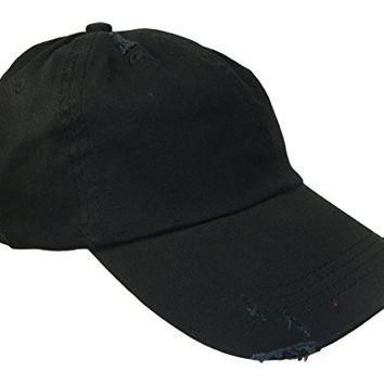 Distressed Weathered Vintage Polo Style Baseball Cap (One Size, Black)