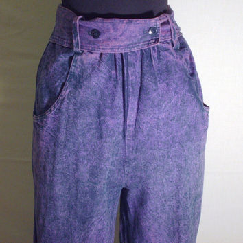 Vintage 1980s Purple Denim Acid Wash Trousers