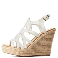 White Strappy Lace-Up Wedge Sandals by Charlotte Russe