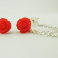Red Rose Ear Cuff / rose stud earrings / earcuff / ear cuff set with chain