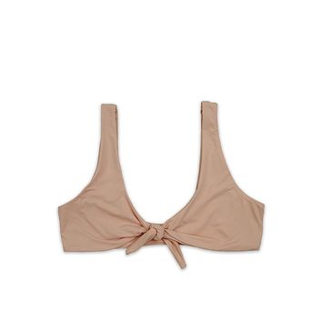 kylie front tie knot - seamless bikini top - cameo pink