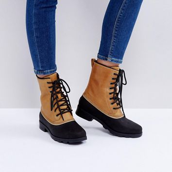 Sorel Emelie 1964 Elk Beige Waterproof Leather Boots at asos.com