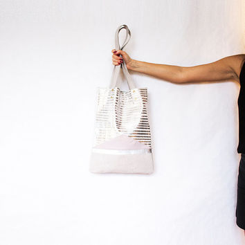 Silver Pink Metallic Leather Shopper // Holographic Pastel Tote // Geometric Hobo Bag // Laptop Purse // Valentine Day's Gift