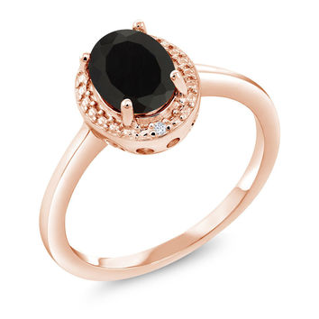 1.26 Ct Oval Black Onyx White Diamond 18K Rose Gold Plated Silver Ring
