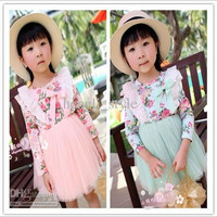 Girls Baby Flower Lace Dress New Spring Children Long Sleeve Flower TUTU Dress Girls' Spring Clothes