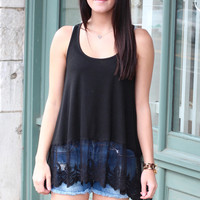 Lace Layering Tank {Black}